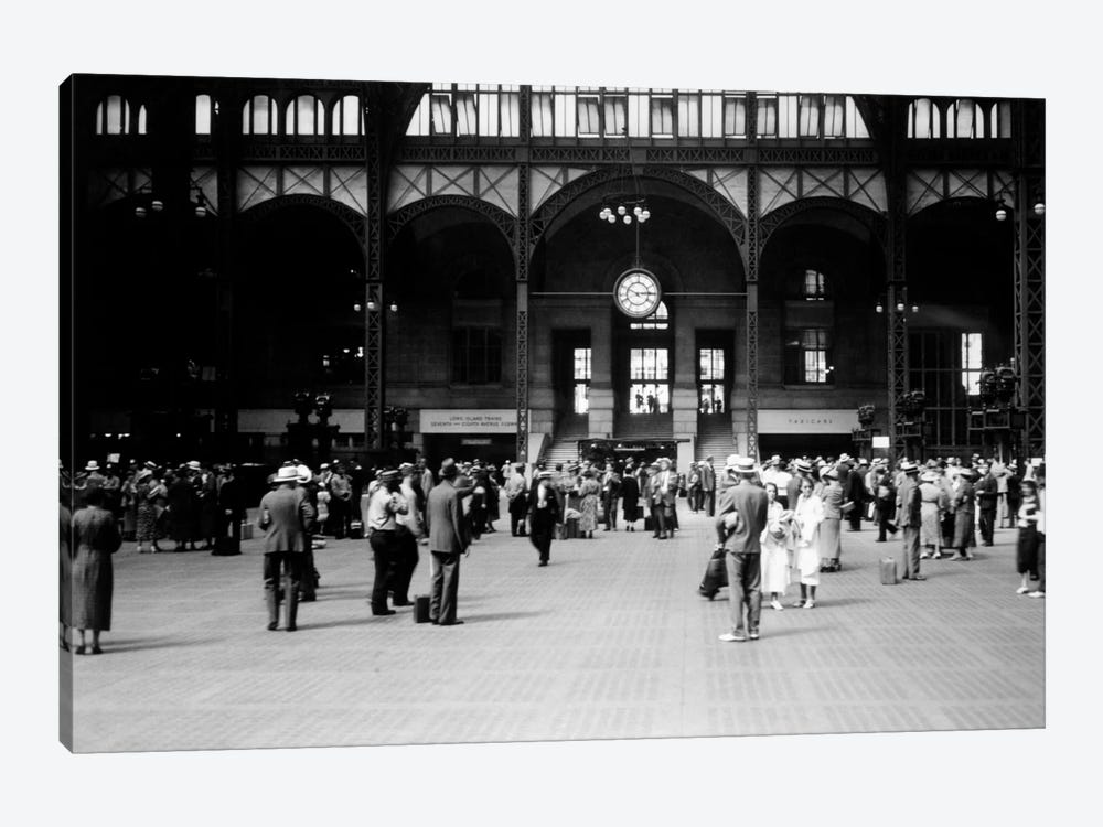 1930s Pennsylvania Penn Station New York City Railroad Station People Passengers Travelers Transportation by Vintage Images 1-piece Canvas Wall Art
