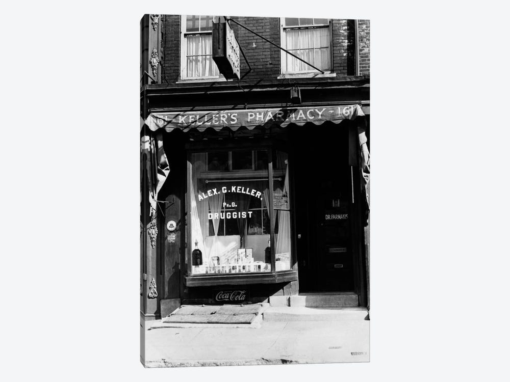 1930s Pharmacy Storefront by Vintage Images 1-piece Canvas Art Print