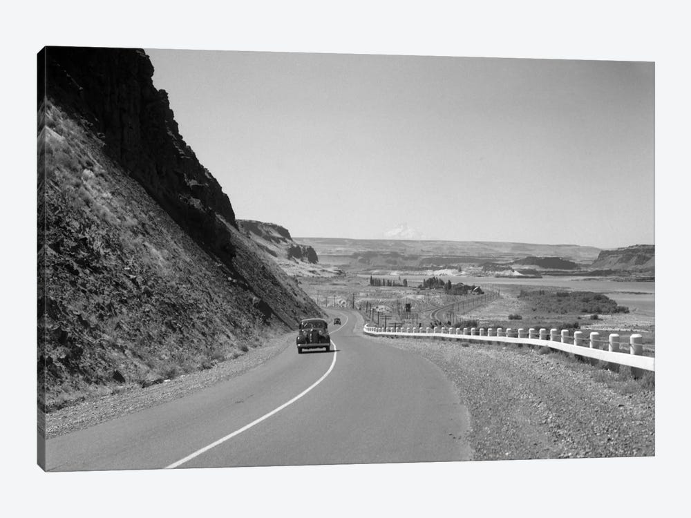 1930s Retro US 30 Walla Walla Washington Car Mountain Drive by Vintage Images 1-piece Canvas Art