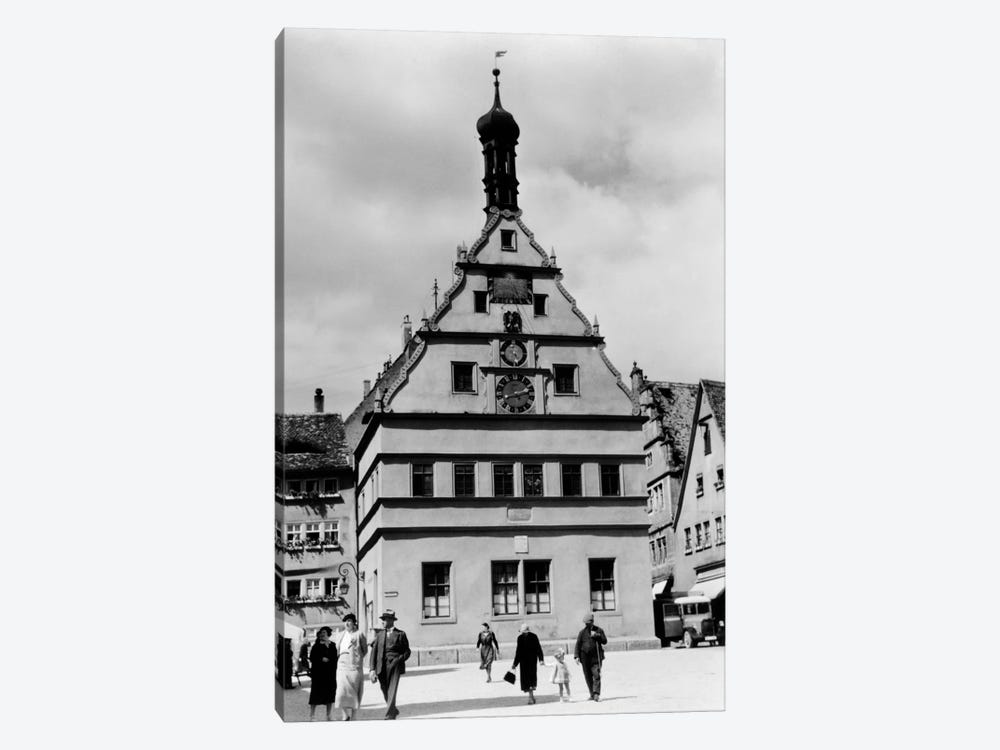 1930s Rothenburg Germany Old Council Drinking Hall Established 1406 People Pedestrians In Foreground by Vintage Images 1-piece Canvas Artwork
