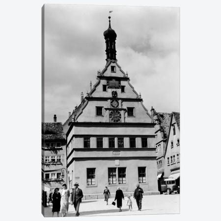 1930s Rothenburg Germany Old Council Drinking Hall Established 1406 People Pedestrians In Foreground Canvas Print #VTG127} by Vintage Images Canvas Wall Art