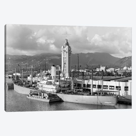 1930s Ship Freighter At Dock By Aloha Tower Built 1926 Port Of Honolulu Hawaii Canvas Print #VTG128} by Vintage Images Canvas Print