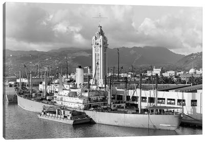 1930s Ship Freighter At Dock By Aloha Tower Built 1926 Port Of Honolulu Hawaii Canvas Art Print