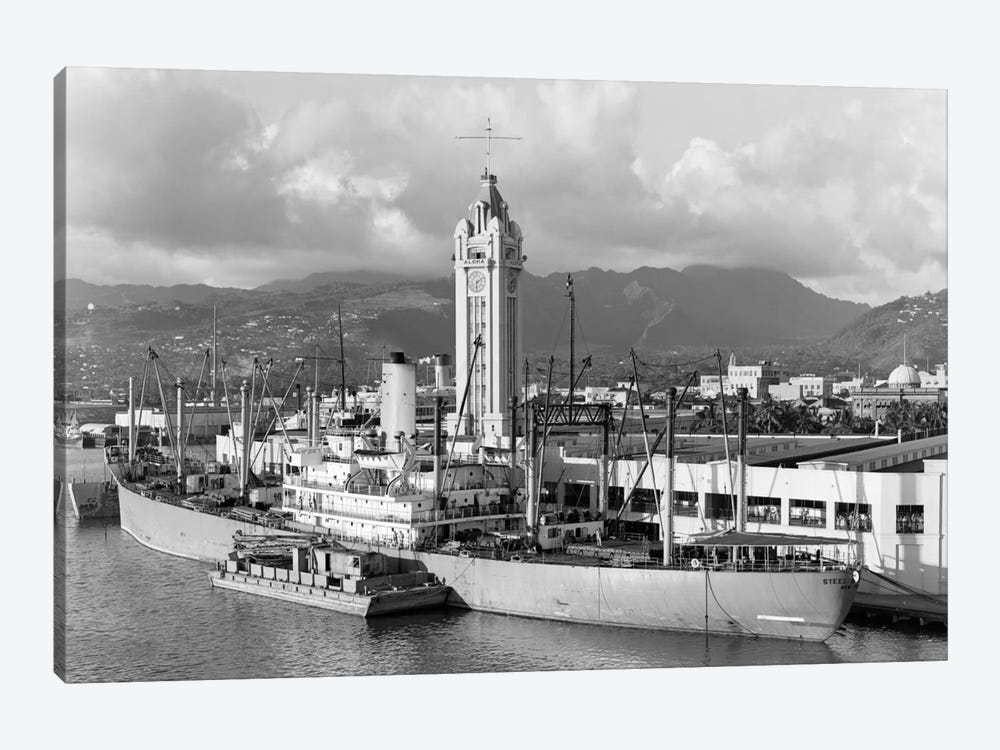 1930s Ship Freighter At Dock By Aloha Tower Built 1926 Port Of Honolulu Hawaii by Vintage Images 1-piece Canvas Art Print
