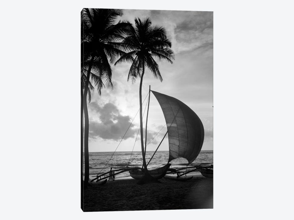 1930s Single Catamaran On Tropical Beach At Sunset Palm Trees Sri Lanka by Vintage Images 1-piece Canvas Art