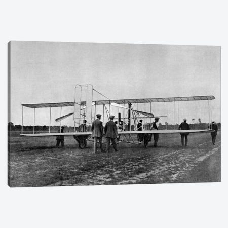 1900s Wilbur Wright Demonstrates Airplane Flying Machine To French War Office August 1908 At Le Mans France Canvas Print #VTG12} by Vintage Images Canvas Art Print