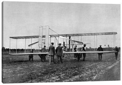 1900s Wilbur Wright Demonstrates Airplane Flying Machine To French War Office August 1908 At Le Mans France Canvas Art Print