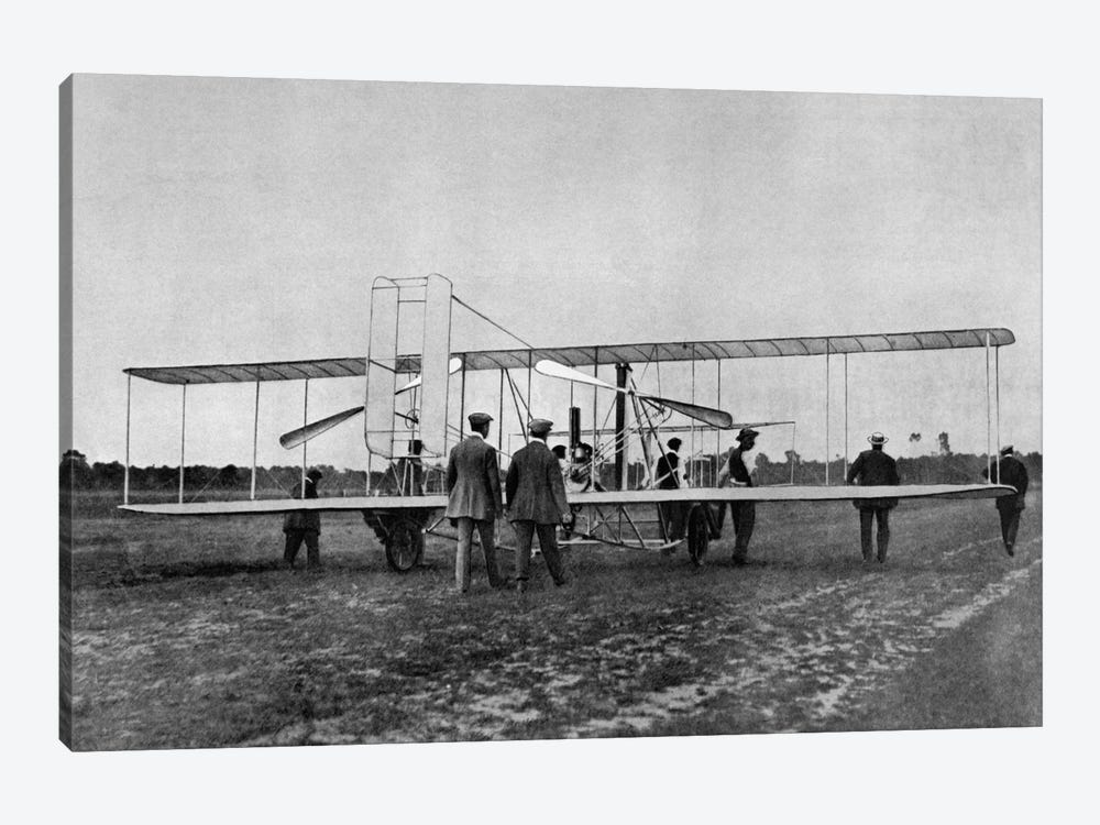 1900s Wilbur Wright Demonstrates Airplane Flying Machine To French War Office August 1908 At Le Mans France by Vintage Images 1-piece Canvas Art Print