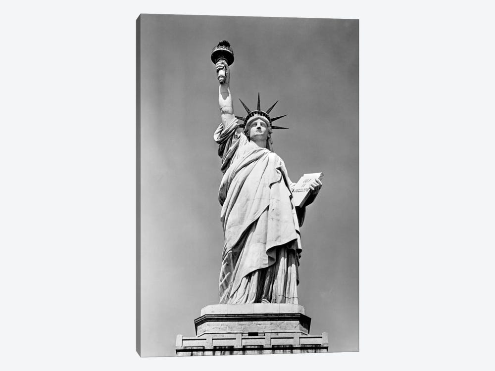 1930s Statue Of Liberty NY Harbor Ellis Island National Monument 1886 by Vintage Images 1-piece Canvas Wall Art