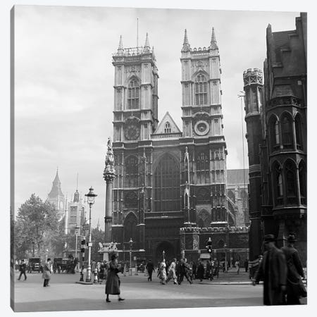 1930s Street Scene Westminster Abbey City Of Westminster Central London England Canvas Print #VTG131} by Vintage Images Canvas Artwork