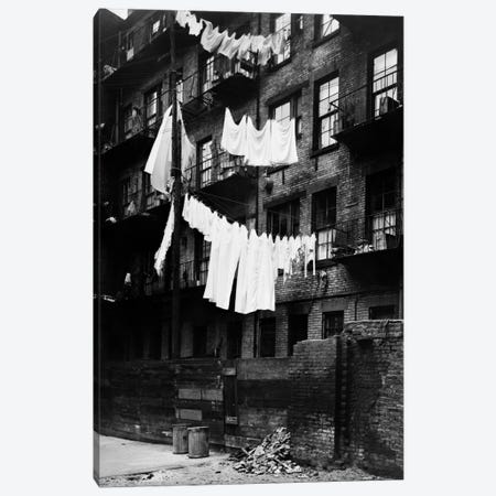 1930s Tenement Building With Laundry Hanging On Clotheslines I Canvas Print #VTG133} by Vintage Images Canvas Wall Art