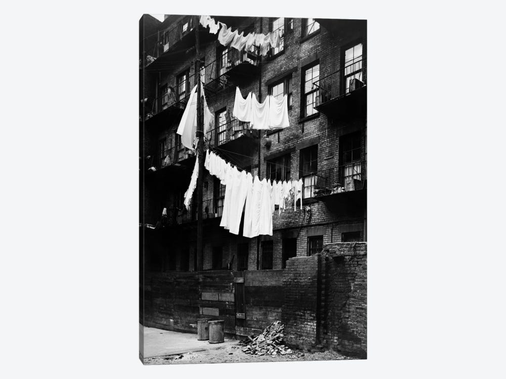 1930s Tenement Building With Laundry Hanging On Clotheslines I by Vintage Images 1-piece Canvas Art Print