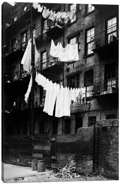 1930s Tenement Building With Laundry Hanging On Clotheslines I Canvas Art Print