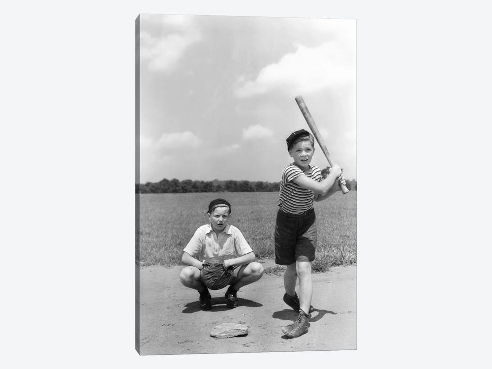 1930s Two Boys Batter And Catcher Playing Baseball by Vintage Images 1-piece Canvas Wall Art