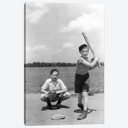 1930s Two Boys Batter And Catcher Playing Baseball Canvas Print #VTG134} by Vintage Images Canvas Art Print