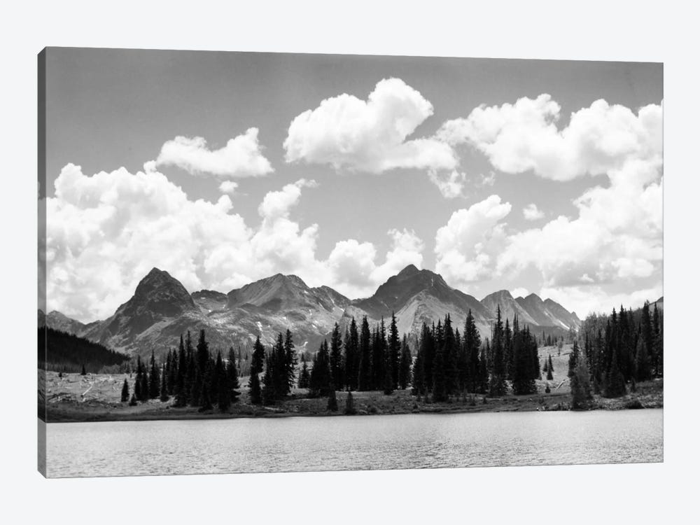 1930s Western North America Mountain Range Skyline And Lake In Foreground by Vintage Images 1-piece Canvas Art