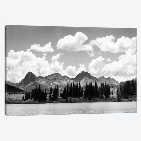 1930s Western North America Mountain Range Skyline And Lake In Foreground Canvas Print #VTG136} by Vintage Images Art Print