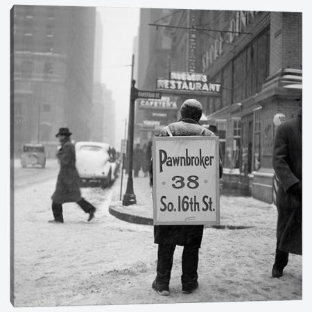1930s Winter Street Scene Of Man Wearing Pawnbroker Sandwich Board Canvas Print #VTG137} by Vintage Images Canvas Art Print