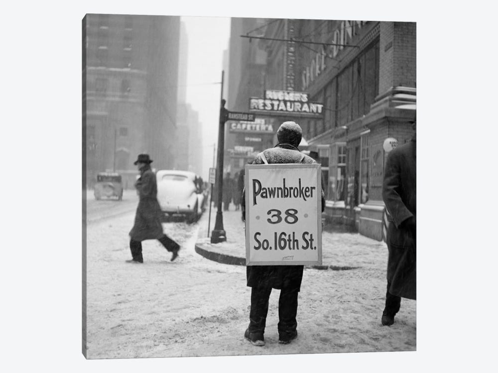 1930s Winter Street Scene Of Man Wearing Pawnbroker Sandwich Board 1-piece Art Print