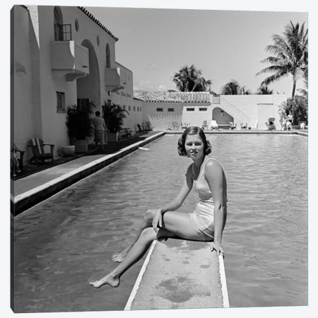 1930s Woman On Pool Diving Board Palm Tree Canvas Print #VTG139} by Vintage Images Canvas Artwork