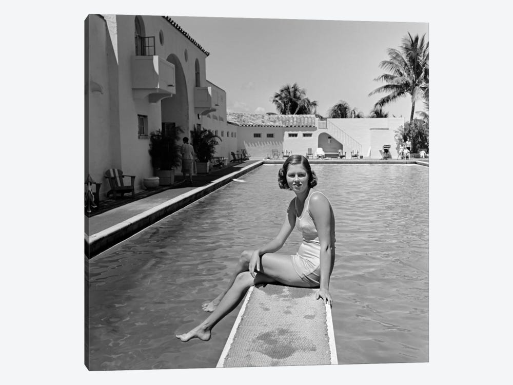 1930s Woman On Pool Diving Board Palm Tree 1-piece Art Print