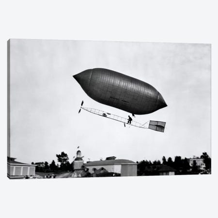 1900s-1910s Lincoln Beachey Airship Appearance Is Cross Between Hot Air Balloon And Blimp Canvas Print #VTG13} by Vintage Images Canvas Print