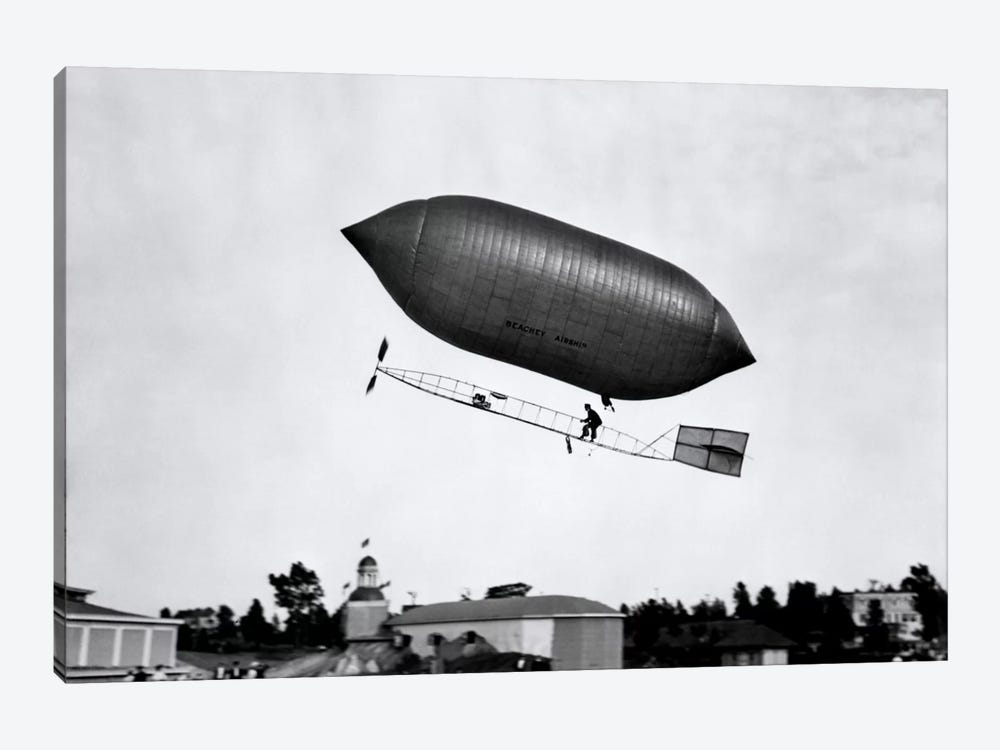 1900s-1910s Lincoln Beachey Airship Appearance Is Cross Between Hot Air Balloon And Blimp by Vintage Images 1-piece Canvas Artwork