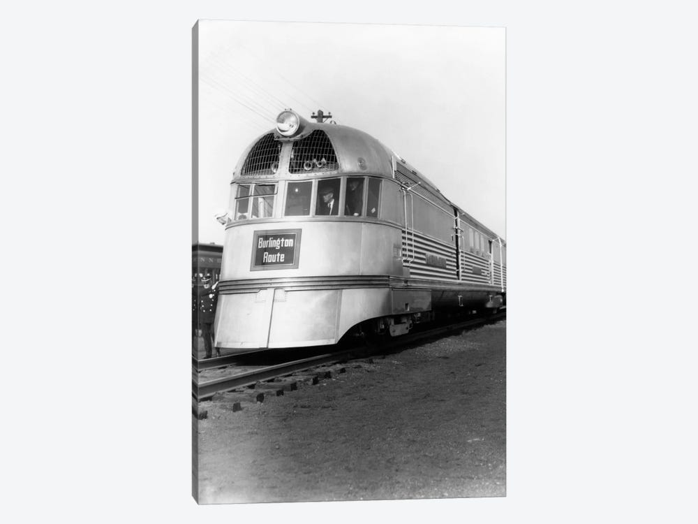 1930s Zephyr Train Engine Cars In Perspective Burlington Route Railroad 1-piece Canvas Wall Art