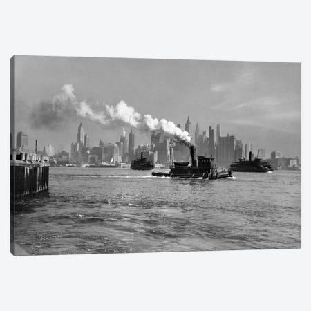 1930s-1933 Steam Engine Tug Boat And Staten Island Ferry Boats On Hudson River Against Manhattan Skyline New York City USA Canvas Print #VTG142} by Vintage Images Canvas Art Print
