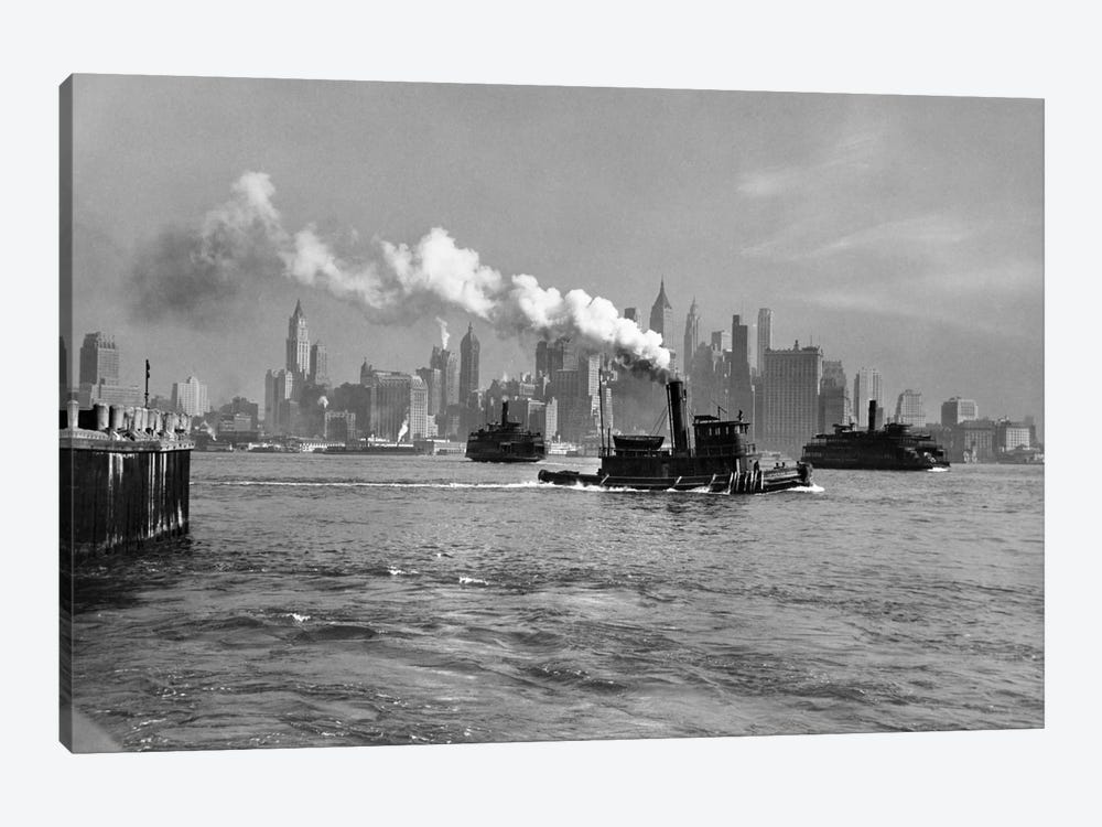 1930s-1933 Steam Engine Tug Boat And Staten Island Ferry Boats On Hudson River Against Manhattan Skyline New York City USA by Vintage Images 1-piece Canvas Art Print