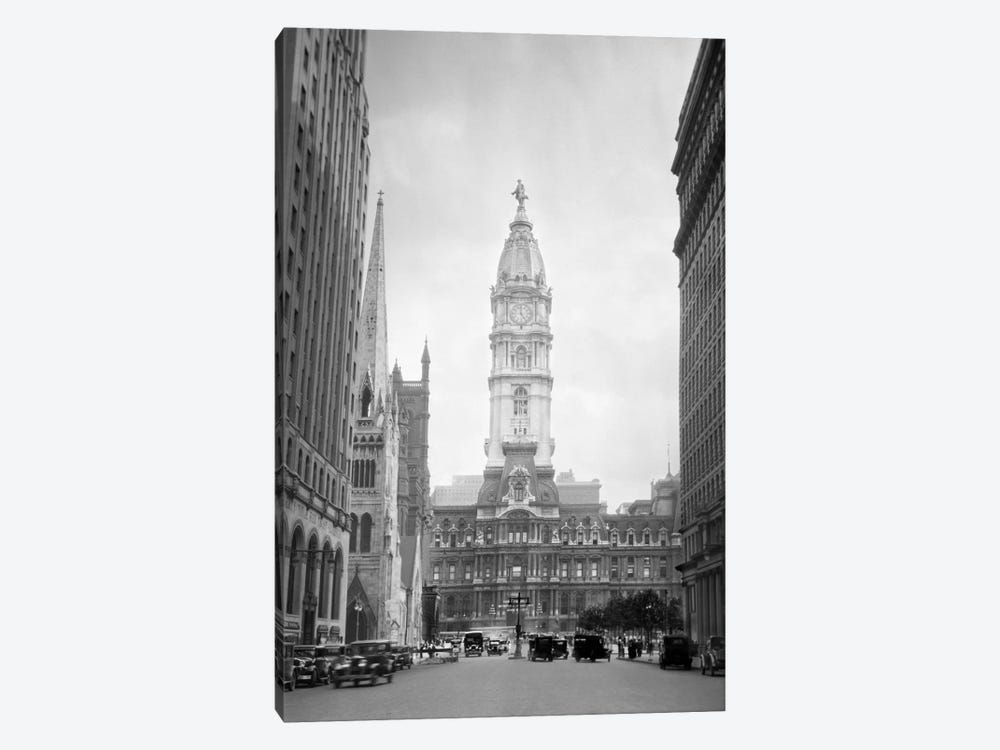 1930s-1936 View Down North Broad Street To The Philadelphia City Hall by Vintage Images 1-piece Canvas Art