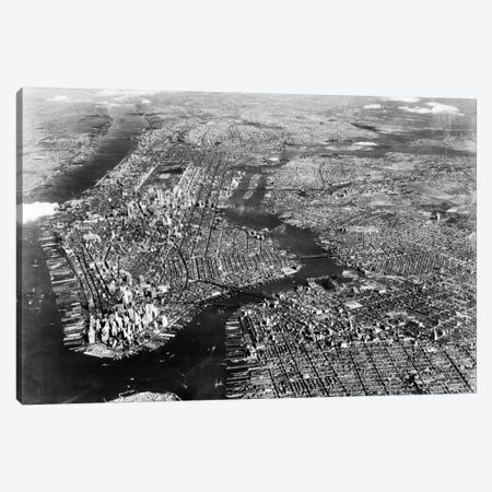 1930s-1940s Aerial View New York City Brooklyn Bronx Queens And Manhattan Island The Hudson And East Rivers Canvas Print #VTG145} by Vintage Images Canvas Art