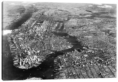 1930s-1940s Aerial View New York City Brooklyn Bronx Queens And Manhattan Island The Hudson And East Rivers Canvas Art Print