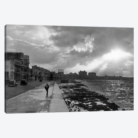 1930s-1940s Anonymous Silhouetted Man Walking Along Havana Sea Wall At Sunset Cuba Canvas Print #VTG146} by Vintage Images Canvas Artwork