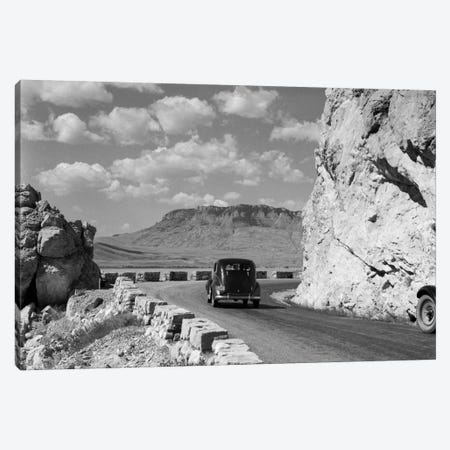 1930s-1940s Car Driving On Mountain Road In Yellowstone National Park Near Cody Wyoming USA Canvas Print #VTG147} by Vintage Images Canvas Wall Art