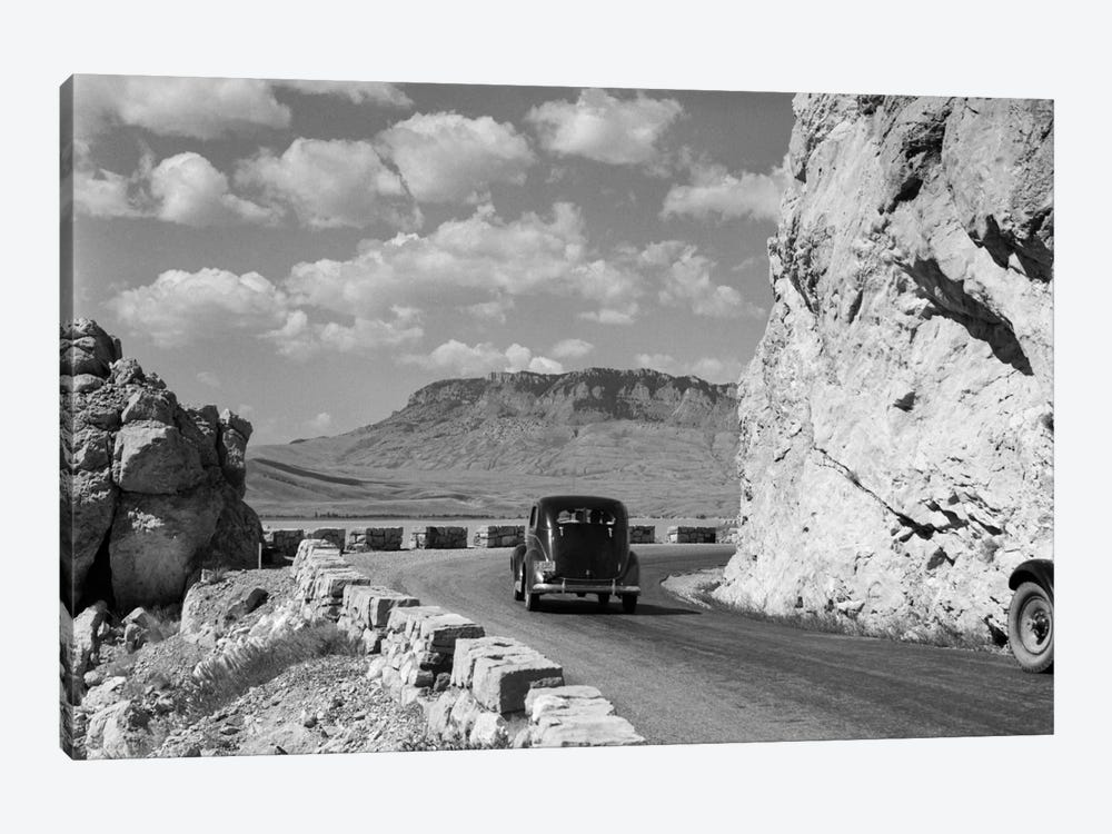 1930s-1940s Car Driving On Mountain Road In Yellowstone National Park Near Cody Wyoming USA by Vintage Images 1-piece Canvas Wall Art