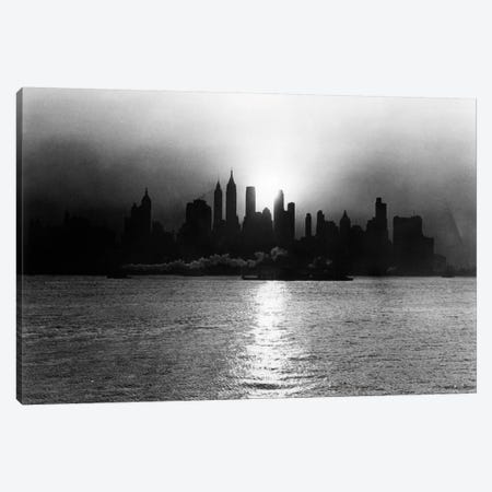 1930s-1940s Early Morning Misty Sunrise Silhouette Skyline New York City With Tug Boat And Barge In Hudson River Canvas Print #VTG149} by Vintage Images Canvas Print