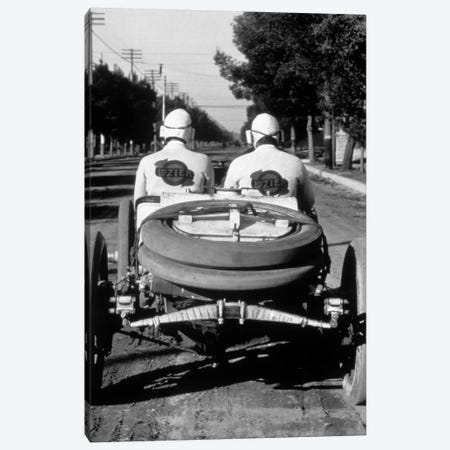1900s-1910s Rear View Of Two Men Sitting In Antique Lozier Racing Road Rally Car Canvas Print #VTG14} by Vintage Images Canvas Art