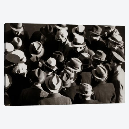 1930s-1940s Elevated View Of Group Crowd Of Men All Wearing Hats Canvas Print #VTG150} by Vintage Images Canvas Artwork