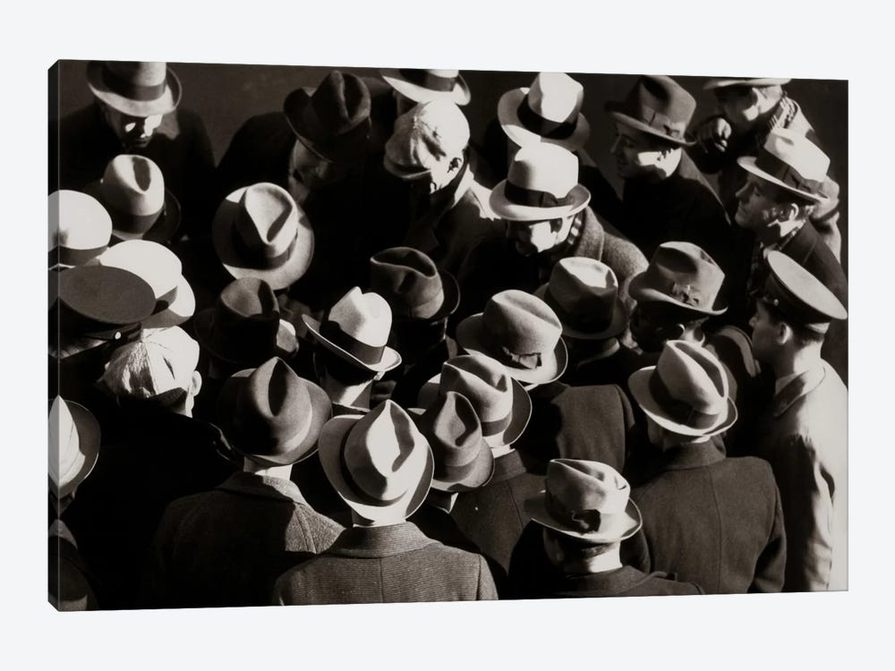 1930s-1940s Elevated View Of Group Crowd Of Men All Wearing Hats by Vintage Images 1-piece Canvas Art