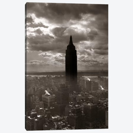 1930s-1940s Empire State Building Silhouetted Against High Gathering Storm Clouds Covering NYC New York USA Canvas Print #VTG151} by Vintage Images Canvas Wall Art