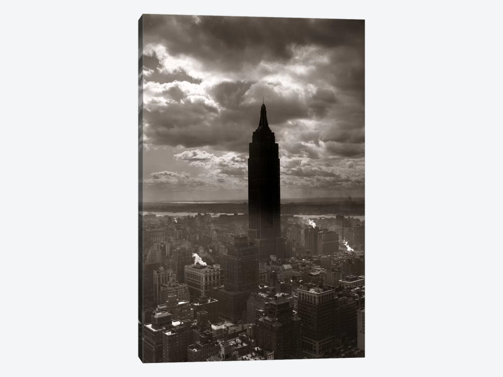 1930s-1940s Empire State Building Silhouetted Against High Gathering Storm Clouds Covering NYC New York USA by Vintage Images 1-piece Canvas Print