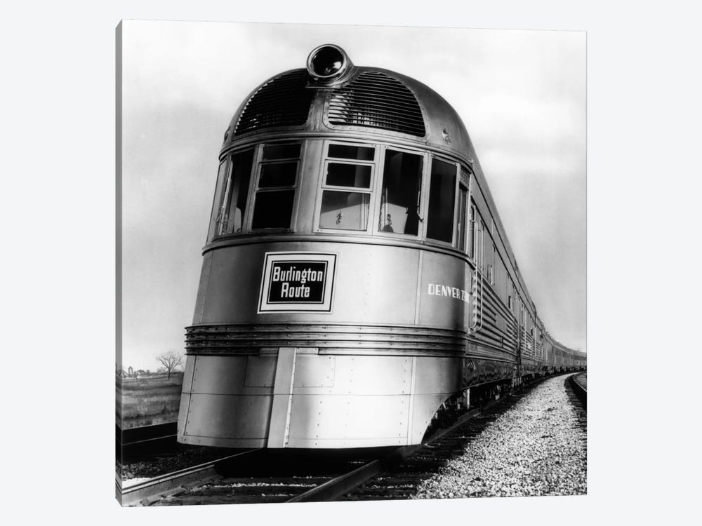 1930s-1940s Engine Head On Of Burlington Route Railroad Streamliner Denver Zephyr Chicago To Denver USA by Vintage Images 1-piece Canvas Wall Art