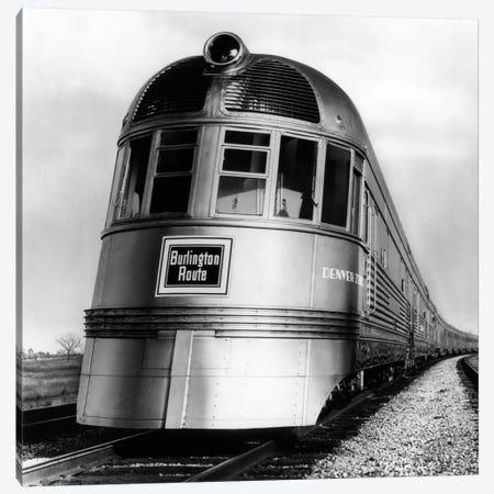 1930s-1940s Engine Head On Of Burlington Route Railroad Streamliner Denver Zephyr Chicago To Denver USA Canvas Print #VTG152} by Vintage Images Canvas Art