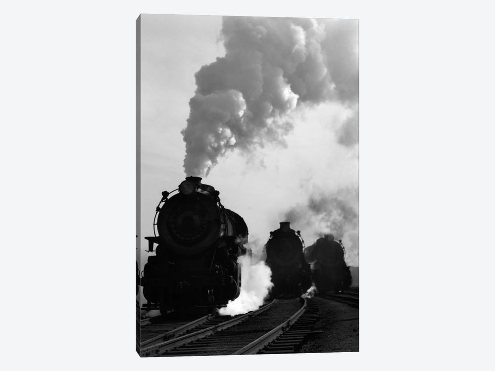 1930s-1940s Head-On View Of Three Steam Engines Silhouetted Against Billowing Smoke And Steam Outdoor by Vintage Images 1-piece Canvas Print