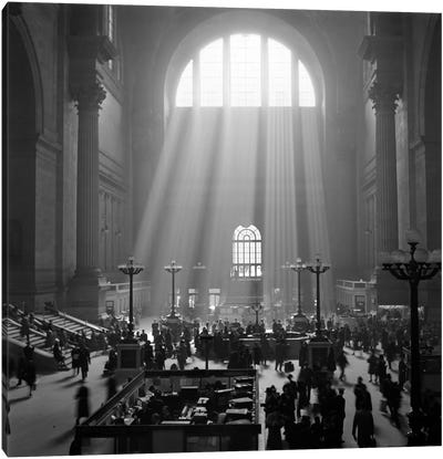 1930s-1940s Interior Pennsylvania Station New York City With Sun Rays Streaming In Window Canvas Art Print