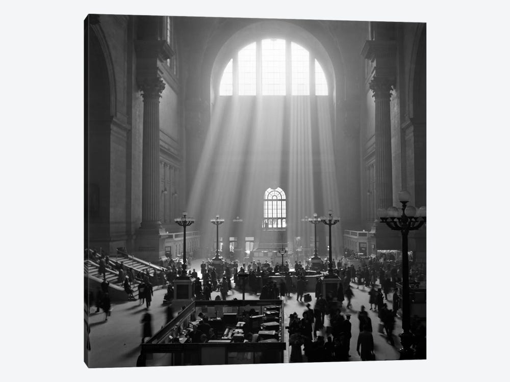1930s-1940s Interior Pennsylvania Station New York City With Sun Rays Streaming In Window by Vintage Images 1-piece Canvas Art Print
