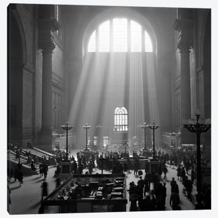 1930s-1940s Interior Pennsylvania Station New York City With Sun Rays Streaming In Window Canvas Print #VTG155} by Vintage Images Canvas Print