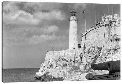 1930s-1940s Lighthouse At Morro Castle Havana Bay Havana Cuba Canvas Art Print