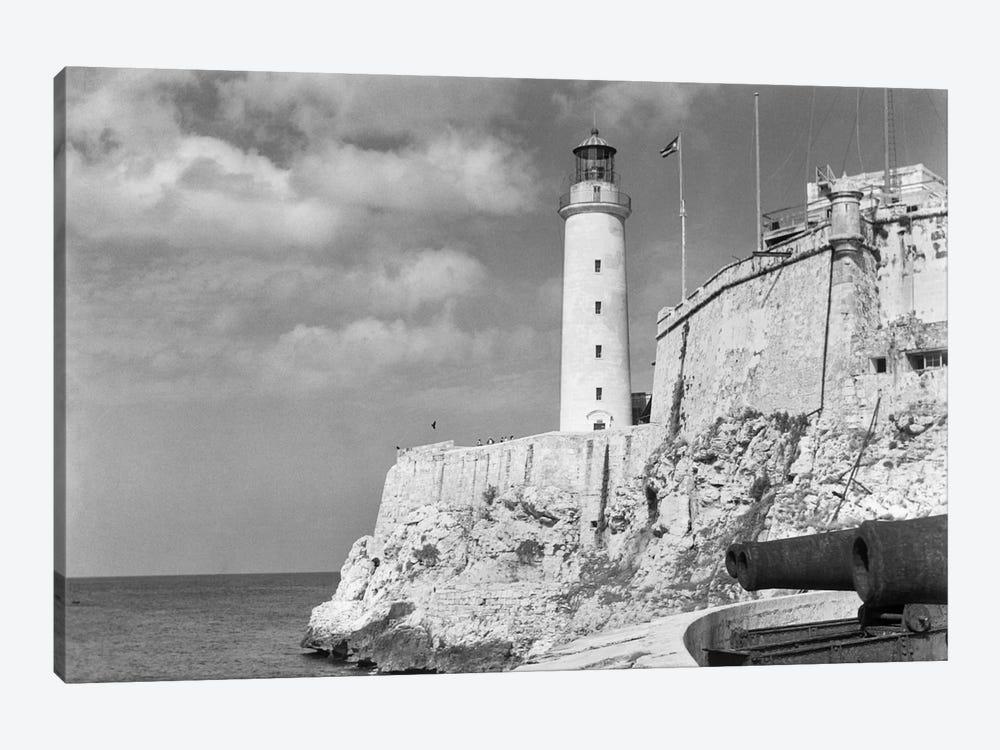 1930s-1940s Lighthouse At Morro Castle Havana Bay Havana Cuba by Vintage Images 1-piece Canvas Print